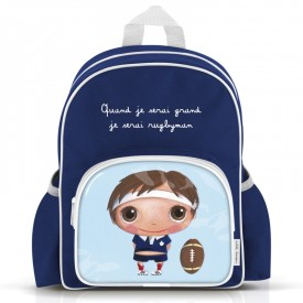 """Big size backpack """"Rugby player"""" by Isabelle Kessedjian"""