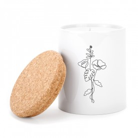 Candle: Line art flowers