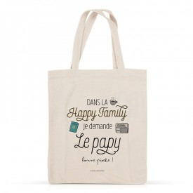 Cotton tote bag: Dans la happy family, je demande le papy
