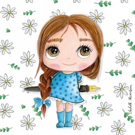 Painting: Little girl with pen and flowers