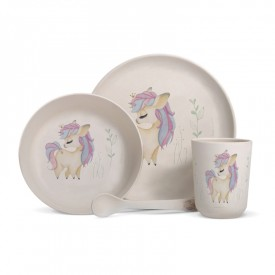"Bamboo fibre dinner set ""Unicorn"""