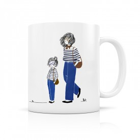 Ceramic mug: Mother and daughter in jeans