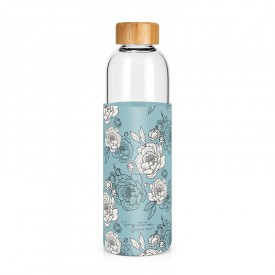 "Large glass bottle ""Peonies"""