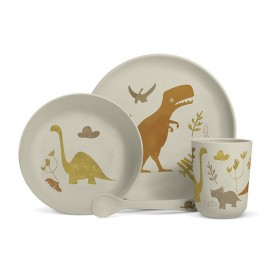 "Bamboo fibre dinner set ""Dinosaurs"""