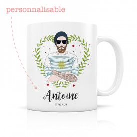 Personalized mug hipster man