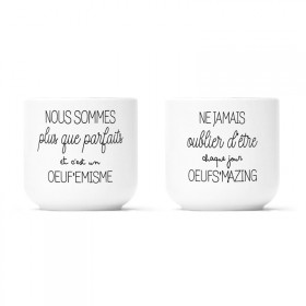 "2 porcelain egg cups box ""Œuf'emisme & Œufs'mazing"""