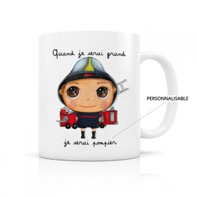 Customizable mug: Quand je serai grand, je serai pompier