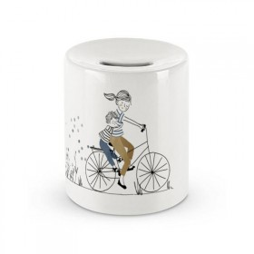 Ceramic money box: Mother Son Bike