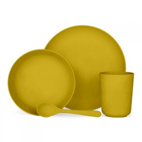 4-piece vegetable tableware set Mimosa yellow