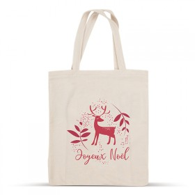 Merry Christmas Red Reindeer cotton bag