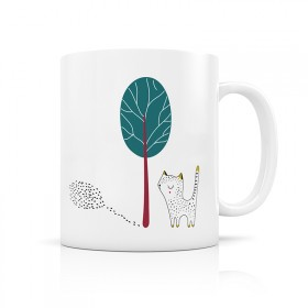 Cat and tree forest mug