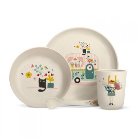 "Bamboo fibre dinner set ""Caravan"""
