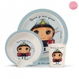 Bambou dinner set: Fireman by Isabelle Kessedjian