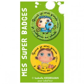 Badges earth-friendly girl / Little birds by Isabelle Kessedjian