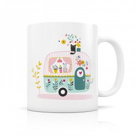 Ceramic mug: Caravan and flowers