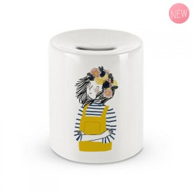 Ceramic moneybox: Woman Overalls