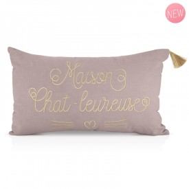 Cushion Maison chat-leureuse by Créa bisontine