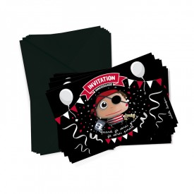 6 party invitations + envelopes Pirate by Isabelle Kessedjian