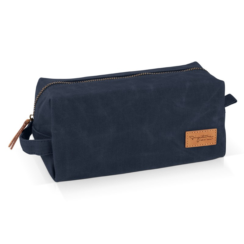 Navy wash toiletery bag by Label'tour créations