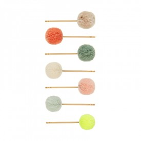 7 colorful pom pom grips
