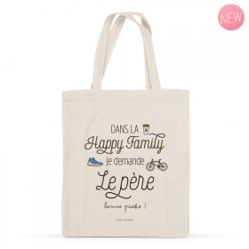 Cotton tote bag: Dans la happy family je demande Le père