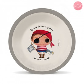 Bamboo soup plate Pirate by Isabelle Kessedjian