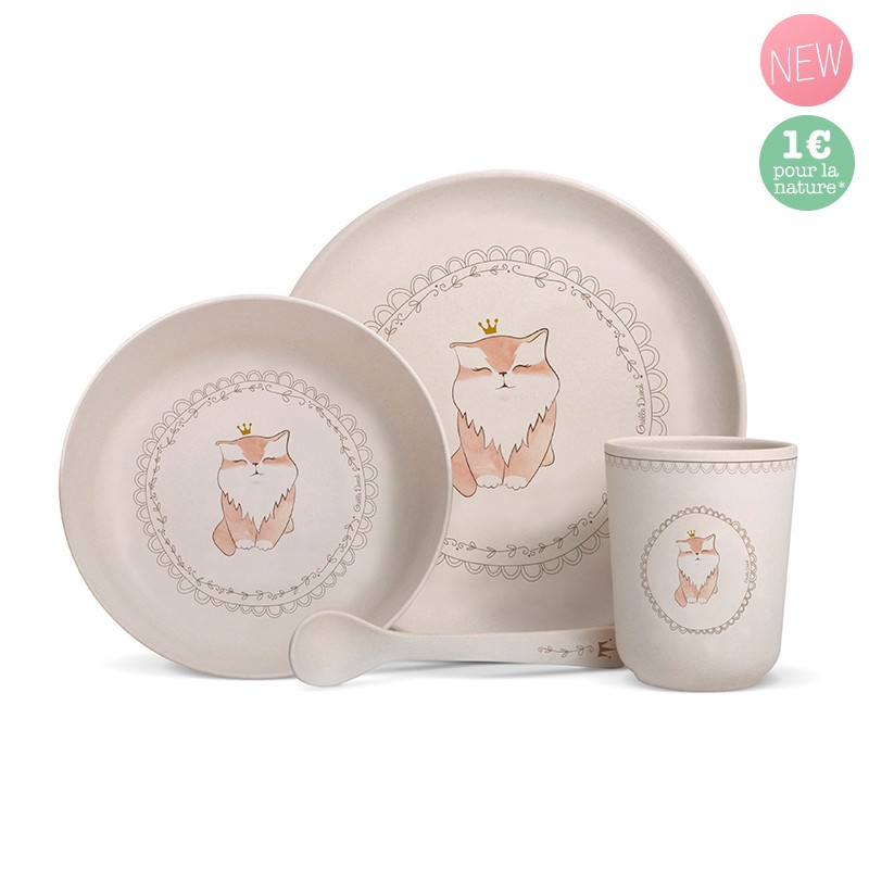 "Bamboo fibre dinner set ""Cat"" by Gaëlle Duval"