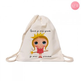Cotton backpack : When I grow up, I will be a princess