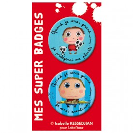 Badges earth-friendly boy / adventurer by Isabelle Kessedjian