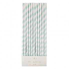 24 mint striped straws by Meri Meri