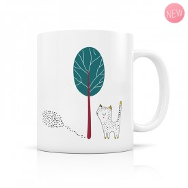 Cat and tree forest mug by Zabeil