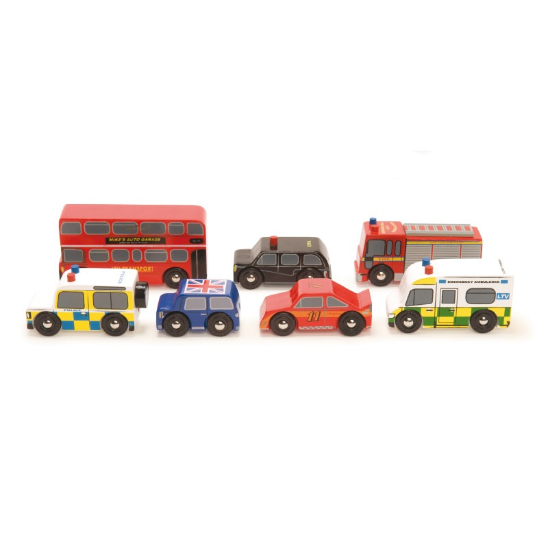 The London car set by Le toy van