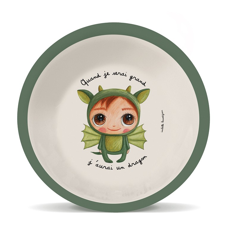 Bamboo soup plate Dragon by Isabelle Kessedjian