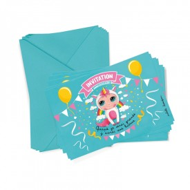 6 party invitations + envelopes Unicorn by Isabelle Kessedjian