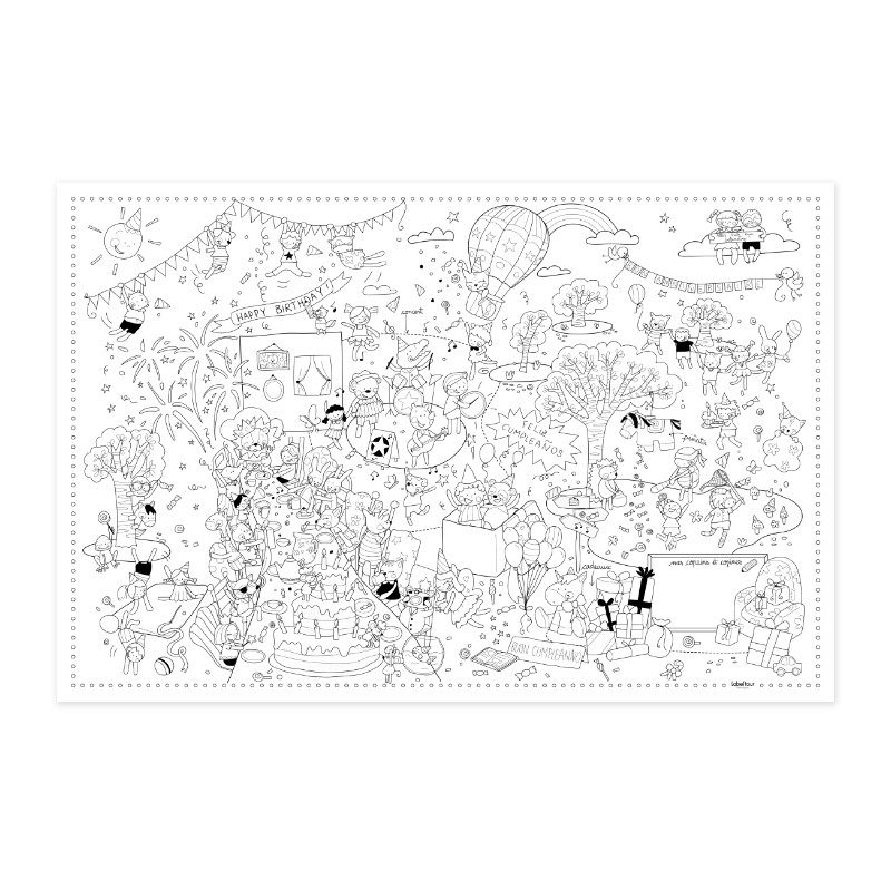 """Poster to colour in """"Birthday"""" by Label'tour créations"""