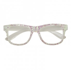 White glittery glasses