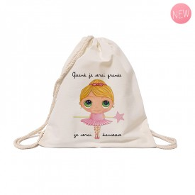 Cotton backpack : When I grow up, I will be a dancer