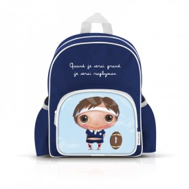 Small backpack with pockets: Quand je serai grand, je serai rugbyman by Isabelle Kessedjian