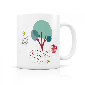 Forest fox and birds mug