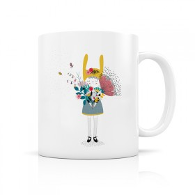 Ceramic mug: Little girl with bouquet