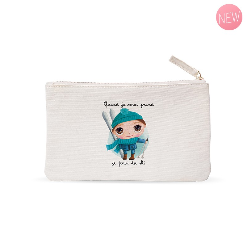 "Small pouches "" When I grow up I will ski"" by Isabelle Kessedjian"
