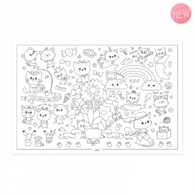 "Poster to colour in ""P'tit chats"" by Label'tour créations"