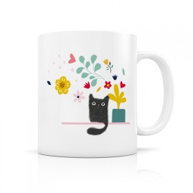 Ceramic mug: Cat and flowers