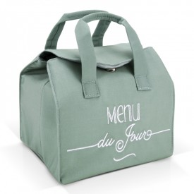 "Green insulated lunch bag ""Menu du jour"" by Créa bisontine"