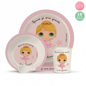 Bamboo kids meal set: Danseuse by Isabelle Kessedjian