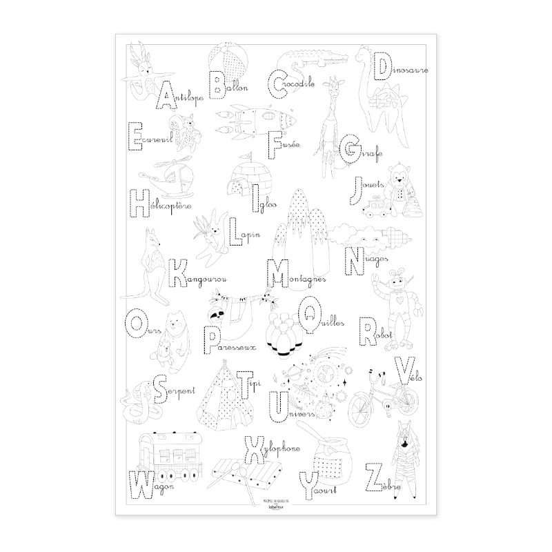 """Poster to colour in """"Abecedary"""" by Label'tour créations"""