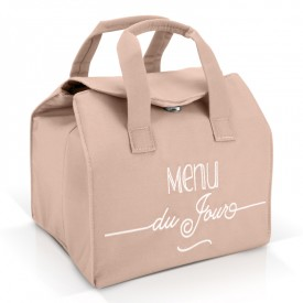 "Pink insulated lunch bag ""Menu du jour"""