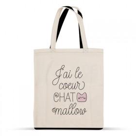 Cotton tote bag: J'ai le cœur Chat mallow