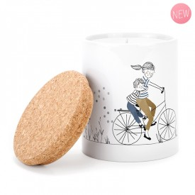 Ceramic candle: Mother Son Bike