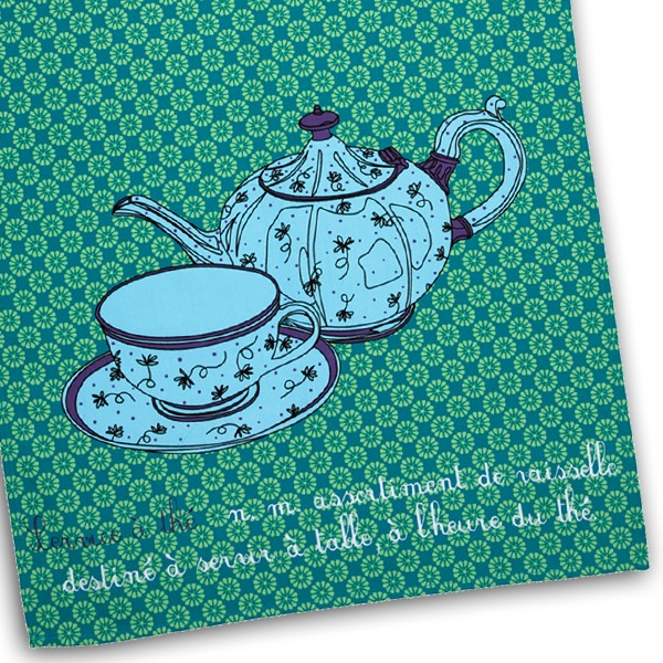 Tea towel mint by Charlotte Vannier